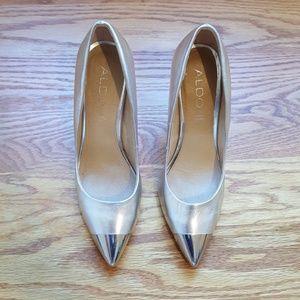 Silver Aldo leather heels